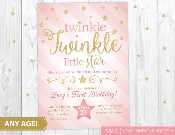 Twinkle Twinkle Little Star Birthday Invitation Twinkle