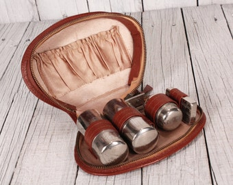Vintage Travel Kit, Men's Grooming Kit, Leather Grooming Case, Vintage Men's Shaving Kit, Travel Case, CHROME Accessories EU Seller