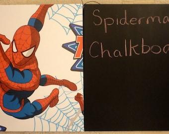 Novelty Hanging Wooden Chalkboard / Wall Art Plaque - Spiderman