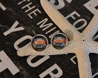 Cufflinks, Cuff Links, Custom Cufflinks, Sterling Silver Plated, Antique Car Cufflinks, Glass Bezel Cufflinks