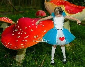 Alice in Wonderland Inspired Handmade Short Tutu Dress - Birthday, Party, Photo Prop, Pageant