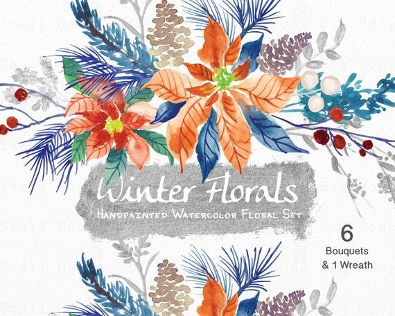 Watercolour Floral Clipart. Handmade, watercolour clipart, winter, flowers - Winter Floral 6 Bouquets & 1 Wreath