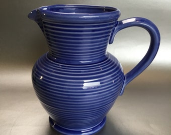 "8"" Santos Pottery Portugal Blue Water Pitcher Jug"