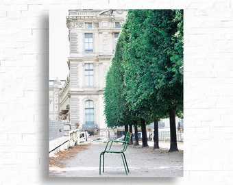 Paris Print, Green Paris Chairs, Paris Garden Print, Louvre Photograph, Paris Photography, Tuileries Photo, Paris Wall Decor, Large Print