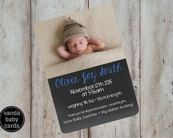 Baby Girl or Boy Birth Announcement Chalkboard Baby Announcement Card
