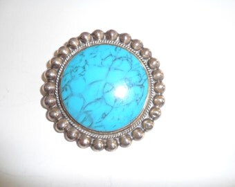 Vintage Large Circular Mexican Silver and Turquoise byJoy-Mex