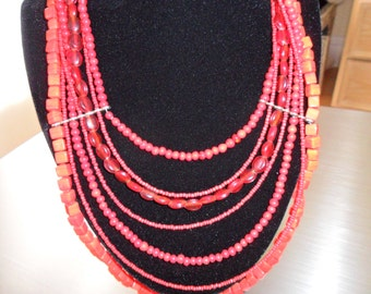 7 Strand Coral Look Statement Necklace