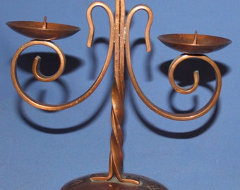 Vintage Hand Made Wrought Copper Candle Holder