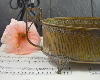 Antique French  copper jardiniere  handles Art Nouveau Cottage chic french apartment roses and foliage