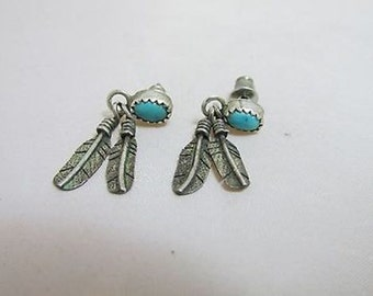 Silver Feather Earrings w/ TURQUOISE STONE 3.4g JP5161