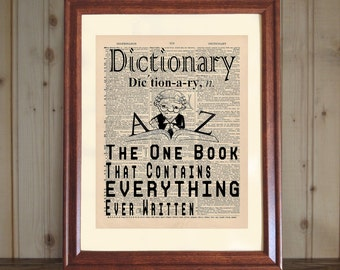 DICTIONARY Dictionary Print, Quote about Dictionary, Book Lover's Gift, Library Decor, Word-lover Gift, Book Print on 5x7/8x10 Canvas Panel