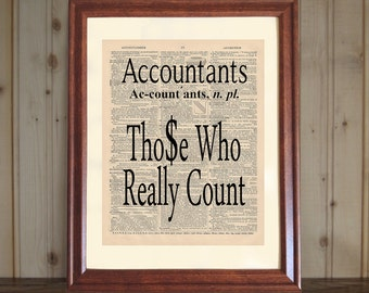 Accountant Dictionary Print, Accountant Quote, Accountant Office Art, Gift  For Accountant, CPA