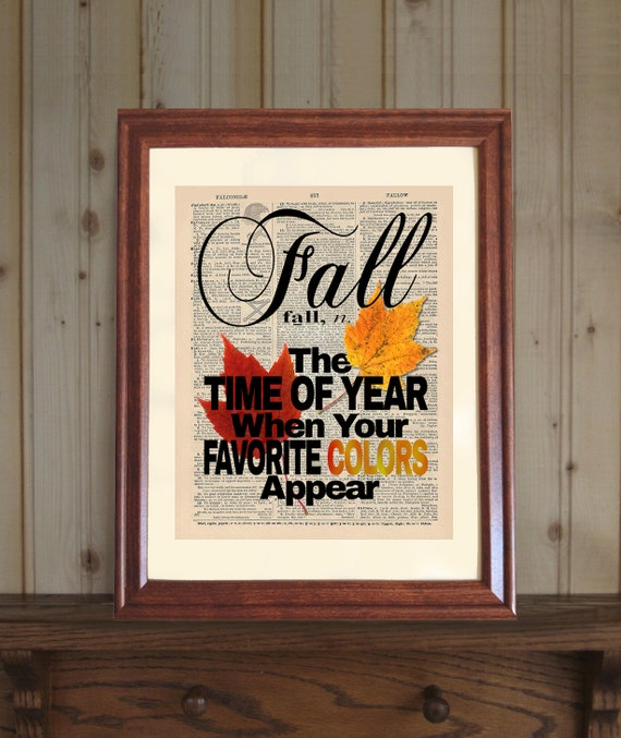 Fall Dictionary Print Fall Quote Autumn Quote Autumn Print