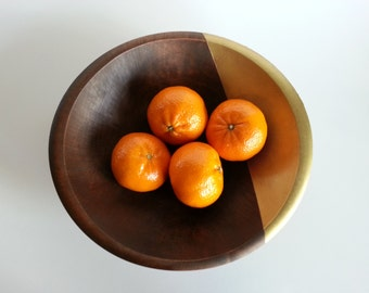 Modern Wood Bowl - Hand Painted Gold