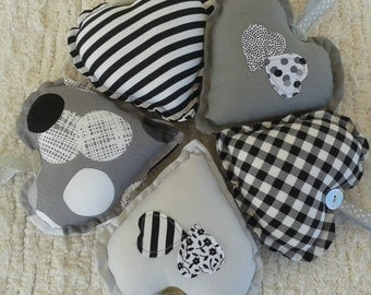 Monochrome Fabric Hearts