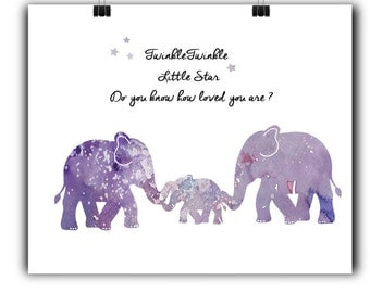 Elephant Nursery Art Elephant Nursery Prints Elephant Nursery Decor Purple Nursery decor Love for baby Quotes