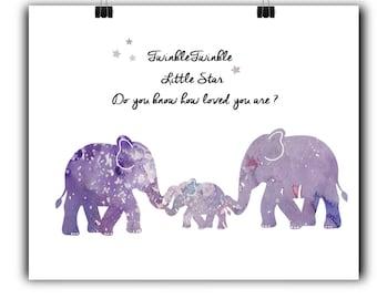 Elephant Nursery Art Elephant Nursery Prints Elephant Nursery Decor Purple Nursery decor Love for baby Quotes