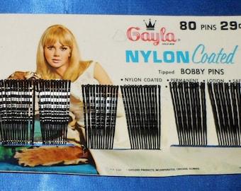 Vintage 1960's Full Card of 80 Gayla Black Nylon Coated Bobby Pins