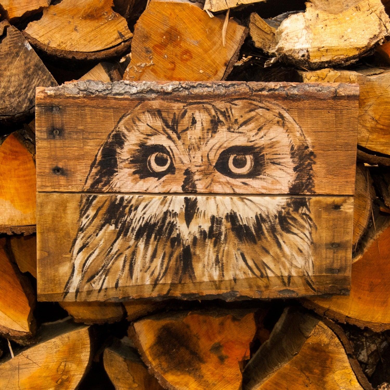 Art Décor: Owl Decor Owl Artwork Owl Necklace Cabin Decor Pallet Art