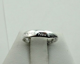 """Solid Sterling Silver Continual Surface Mobius Strip Pendant Band/Ring Engraved """"Best Friends Now & Forever""""  #MOBIUSB-SR1"""