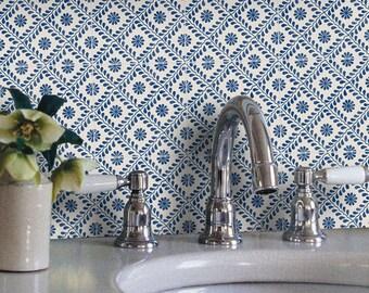 Tile Decals - Tiles for Kitchen/Bathroom Back splash - Floor decals -Portuguese Azure Vinyl Tile Sticker Pack color Indigo Blue