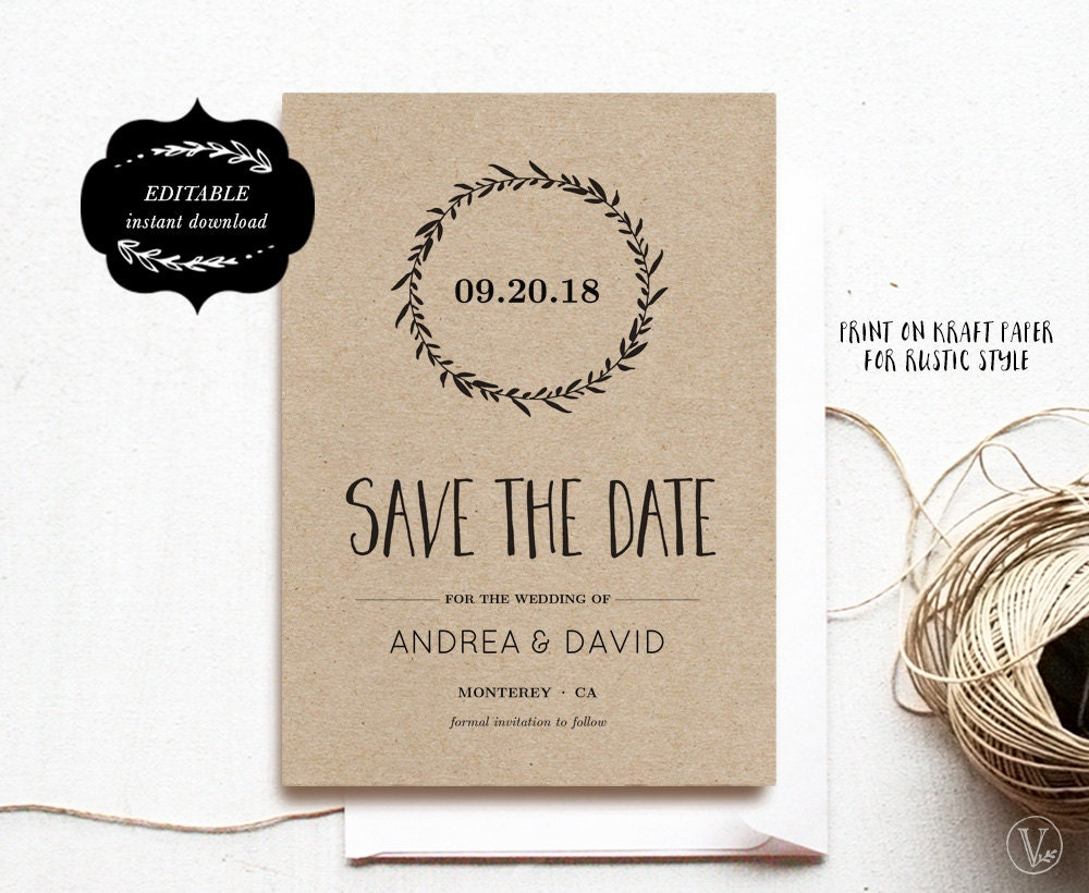 Save the date template printable save the date card diy for Diy save the date magnets template