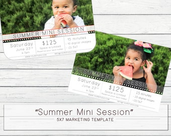 2 LOOKS! - 5x7 Summer Mini Session Photography Marketing Template Flat Card WHCC and Millers for Photographers