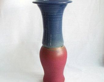 vintage St Agnes studio pottery vase, John Vasey large vase, cornish pottery, blue and dusky pink