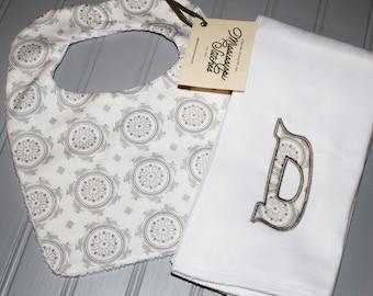 Bib and Burp Cloth Set - Gray Bib and Burp Cloth