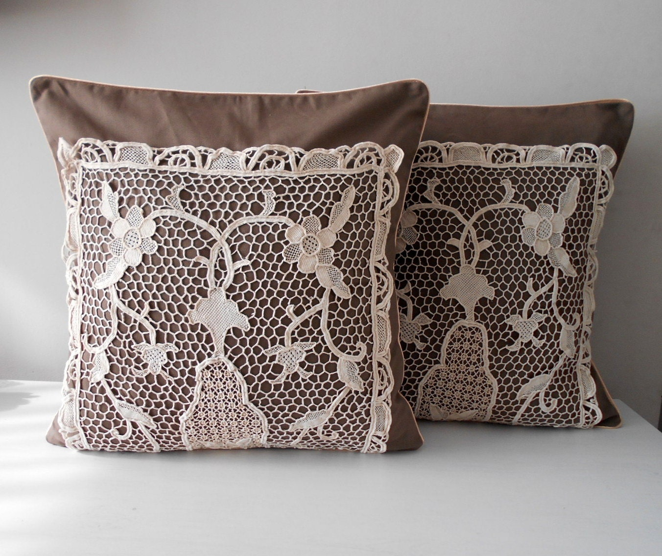 Rustic Pillow Cover Set Decorative Throw Pillow by MyLacyBoutique