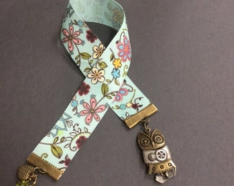 Floral ribbon bookmark, ribbon bookmark, owl bookmark, women's gift