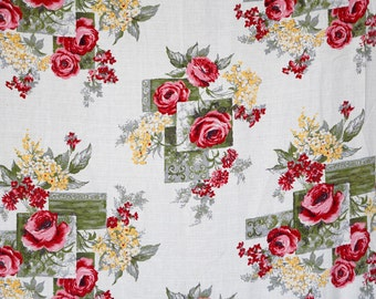 Barkcloth curtain panel - red roses floral pattern with olive green and yellow squares -40's or 50's barkcloth