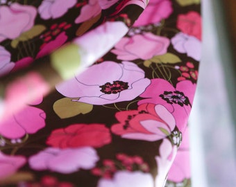 Pink brown and green satin floral fabric