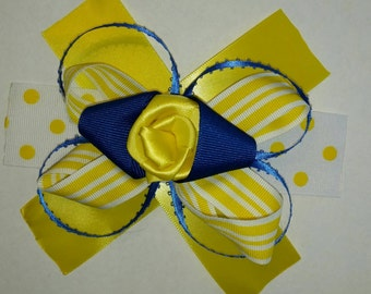 Blue and yellow hair bow