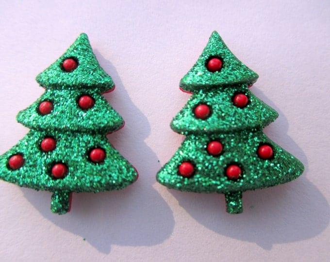Christmas tree earrings--Christmas earrings-Holiday earrings-Tree Studs-kids clip on earrings-Christmas party favors-Christmas tree jewelry