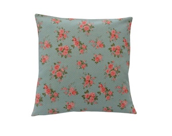 Duck Egg Blue Cushion Cover/ Pillow case Pink Vintage ditsy Floral white dots Shabby Chic made in Britain pillow case Home,Sofa,Kitchen,Bed
