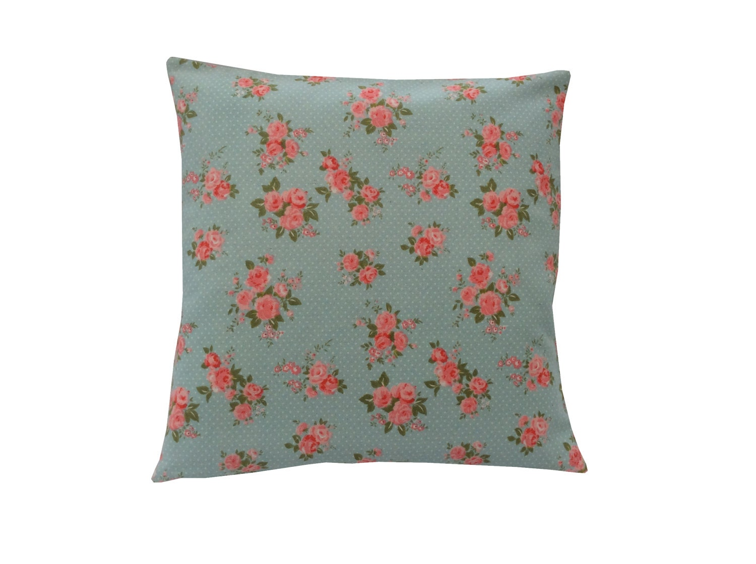 duck egg blue cushion cover pillow case pink vintage ditsy. Black Bedroom Furniture Sets. Home Design Ideas