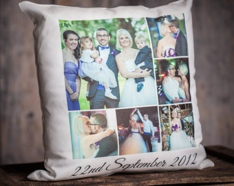 Personalised Photo Cushion - Collage, Logo, Words, Phrase, Saying. With Pad