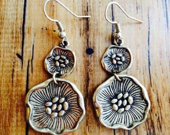 One of a Kind Silver Earrings - Silver Flower Earrings - Rustic Silver Earring - Gift for Her - Silver Drop Earrings - Boho Silver Earrings