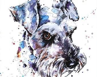"Schnauzer"" Print Watercolour A3 (30*40cm/16*12 Inches)"