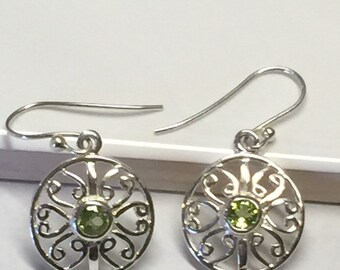 Natural Peridot 925 Solid Sterling Silver Dangle Filigree Earrings 30mm long