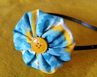 CLearance Yellow and Blue Yoyo Headband
