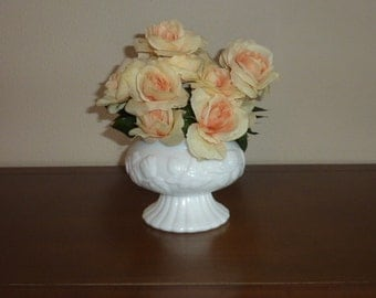 Vintage Milk Glass Vase Wide Mouth Pedestal Floral Design White Flower Pot Planter Jar Wedding Cottage Shabby Chic Home Decor