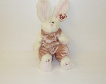 Vintage Ty Beanie Baby SARA Large Ty Beanie Babies White Rabbit Original 1993 Pink Jumper Articulating Limbs Collectible Childrens Toy
