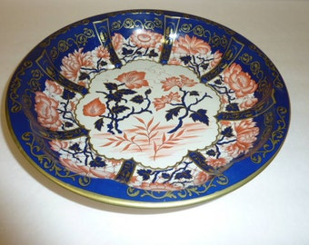 Vintage DAHER Tin Tray Navy Blue Peach Floral Gold Decorated Ware Made in England Tray Serving Bowl French Country Cottage Shabby Chic Decor
