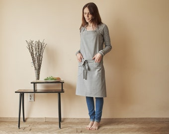 Handmade Gray Apron with Two Pockets, Classic Apron, Kitchen Apron, Cooking Apron