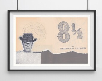 8 1/2 FELLINI, Original Art, Minimalist Movie Poster Print  13 x 19""
