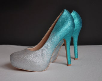 Teal wedding shoes teal ombre shoes teal high heels pumps teal bridal shoes bride shoes silver teal ombre pumps stilleto shoes prom shoes