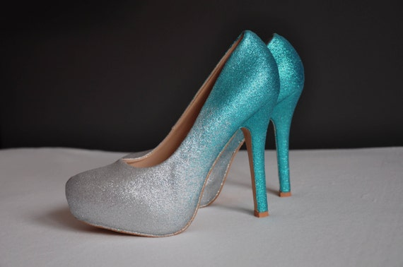 teal wedding shoes teal ombre shoes teal high heels pumps teal