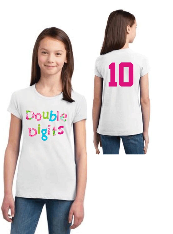 Youth Shirt Double Digits Design Birthday Shirt